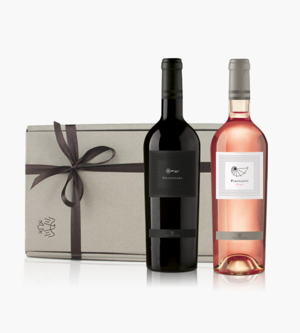 Immagine confezione regalo 2 bottiglie di Dragonara e Fibonacci