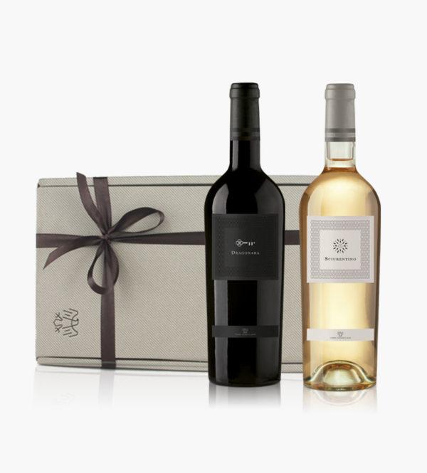 Immagine confezione regalo 2 bottiglie di Dragonara e Sciurentino